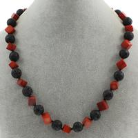 Natürliche Koralle Halskette, mit Lava, Messing Karabinerverschluss, 10mm, verkauft per ca. 17 ZollInch Strang