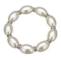 Glas Perlen-Armband, Glasperlen, mit Messing Strass Zwischenstück, Platinfarbe platiniert, 20x13mm, 3x6.5mm, Länge:ca. 7.5 ZollInch, 10SträngeStrang/Menge, verkauft von Menge