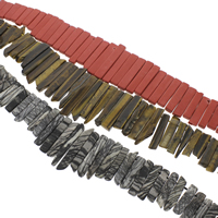 Edelstein-Span, Edelstein, Klumpen, verschiedenen Materialien für die Wahl, Grad AAA, 9x25x6mm-11x68x7mm, Bohrung:ca. 2mm, ca. 38PCs/Strang, verkauft per 15 ZollInch Strang