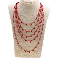 Natürliche Koralle Halskette, mit Nylonschnur, Messing Karabinerverschluss, 5-litzig, rot, 4mm, Länge:ca. 19.5 ZollInch, 12SträngeStrang/Menge, verkauft von Menge