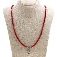 Coral Strickjacke-Kette Halskette, Natürliche Koralle, mit Zinklegierung, antik silberfarben plattiert, natürliche, rot, 11x20mm, Länge:ca. 26.5 ZollInch, 12SträngeStrang/Menge, verkauft von Menge