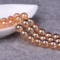Natürlicher Quarz Perlen Schmuck, rund, verschiedene Größen vorhanden, Champagner, Bohrung:ca. 1-2mm, verkauft per ca. 15 ZollInch Strang