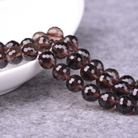 Natürliche Rauchquarz Perlen, rund, 64-Seiten & verschiedene Größen vorhanden & facettierte, Bohrung:ca. 1-2mm, verkauft per ca. 15 ZollInch Strang