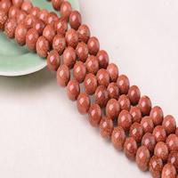 Goldstein Perlen, Goldsand, rund, synthetisch, verschiedene Größen vorhanden, Bohrung:ca. 1-2mm, Länge:ca. 15 ZollInch, verkauft von Menge