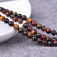 Tigerauge Perlen, rund, natürlich, verschiedene Größen vorhanden, Bohrung:ca. 1-2mm, Länge:ca. 15 ZollInch, verkauft von Menge