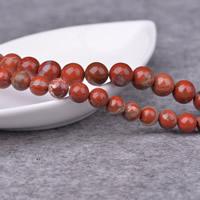 Roter Jaspis Perle, rund, natürlich, verschiedene Größen vorhanden, Grad AAA, Bohrung:ca. 1mm, Länge:ca. 15 ZollInch, verkauft von Menge