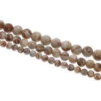 Rhodonit Perle, rund, verschiedene Größen vorhanden, Bohrung:ca. 1mm, verkauft per ca. 15 ZollInch Strang