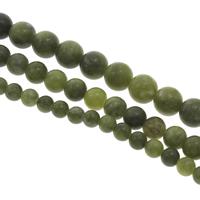 Kanadische Jade Perle, rund, verschiedene Größen vorhanden, Bohrung:ca. 1mm, verkauft per ca. 15 ZollInch Strang