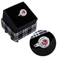 kiss me® Finger Ring, 925 Sterling Silber, mit Karton-box, Micro pave Zirkonia & facettierte, 12.50mm, Größe:7, verkauft von PC