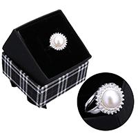 kiss me® Finger Ring, 925 Sterling Silber, mit Karton-box & Natürliche kultivierte Süßwasserperlen, Blume, natürlich, einstellbar & Micro pave Zirkonia, 14mm, Größe:7, verkauft von PC