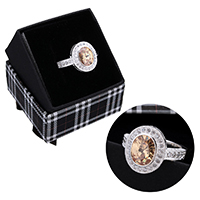 kiss me® Finger Ring, 925 Sterling Silber, mit Karton-box, Micro pave Zirkonia & facettierte, 16mm, Größe:8, verkauft von PC