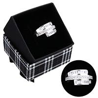 kiss me® Finger Ring, 925 Sterling Silber, mit Karton-box, Micro pave Zirkonia, 12mm, Größe:8, verkauft von PC