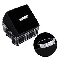 kiss me® Finger Ring, 925 Sterling Silber, mit Karton-box, Micro pave Zirkonia, 4.50x2.50mm, Größe:7, verkauft von PC