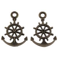 Zinklegierung Schiffsrad & Anker Anhänger, antike Bronzefarbe plattiert, nautische Muster, frei von Blei & Kadmium, 14x20x2mm, Bohrung:ca. 2mm, Innendurchmesser:ca. 1mm, ca. 500PCs/kg, verkauft von kg