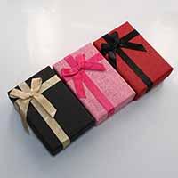 Karton Schmuckset Kasten, Fingerring & Ohrring & Halskette, mit Schwamm & Satinband, Rechteck, mit Dekoration von Bandschleife, gemischte Farben, 61x91x30mm, 24PCs/Menge, verkauft von Menge