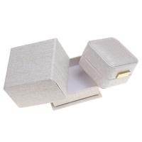 Karton Einzelring Kasten, mit PU Leder & Baumwollsamt & Zinklegierung, Quadrat, goldfarben plattiert, kakifarben, 68x45x68mm, verkauft von PC