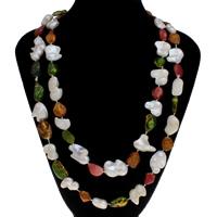 Natürliche Süßwasser Perle Halskette, Natürliche kultivierte Süßwasserperlen, farbenfroh, 10x13mm-24x27mm, verkauft per ca. 45.5 ZollInch Strang