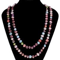 Natürliche Süßwasser Perle Halskette, Natürliche kultivierte Süßwasserperlen, Barock, farbenfroh, 9-10mm, verkauft per ca. 45.5 ZollInch Strang