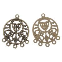 Zinklegierung Schmuckverbinder Einstellung, antike Bronzefarbe plattiert, 1/5-Schleife, frei von Blei & Kadmium, 24x31x1.50mm, Bohrung:ca. 2mm, Innendurchmesser:ca. 1mm, 100G/Tasche, verkauft von Tasche