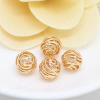 Messing hohle Perlen, rund, 24 K vergoldet, frei von Nickel, Blei & Kadmium, 10mm, Bohrung:ca. 1.3mm, 50PCs/Menge, verkauft von Menge