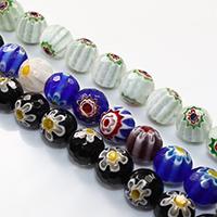Murano Millefiori Lampwork Perle, rund, handgemacht, facettierte, keine, 12mm, Bohrung:ca. 2mm, Länge:ca. 15 ZollInch, 10SträngeStrang/Menge, ca. 33PCs/Strang, verkauft von Menge