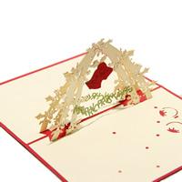 Christmas Greeting Card, Papier, Weihnachtsglocke, Wort Frohe Weihnachten, 3D-Effekt & Weihnachtsschmuck, rot, 130x160mm, 10PCs/Menge, verkauft von Menge