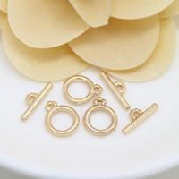 Messing Knebelverschluss, 24 K vergoldet, frei von Nickel, Blei & Kadmium, 10x12x2mm, 2x14mm, Bohrung:ca. 1.3mm, 30SetsSatz/Menge, verkauft von Menge