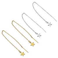 Edelstahl Gewinde durch Ohrringe, Stern, plattiert, keine, 1x1.5x0.5mm, 8x10x1mm, 1mm, 140mm, 10PaarePärchen/Menge, verkauft von Menge