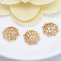 Messing Perlenkappe, Blume, 24 K vergoldet, hohl, frei von Nickel, Blei & Kadmium, 14mm, Bohrung:ca. 1.8mm, 50PCs/Menge, verkauft von Menge