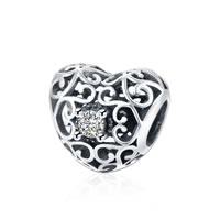 kommen on® Schmuck Beads, Thailand, Herz, Micro pave Zirkonia & ohne troll & hohl, 11x12mm, Bohrung:ca. 5mm, verkauft von PC