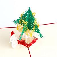 Christmas Greeting Card, Papier, Weihnachtsbaum, 3D-Effekt & Weihnachtsschmuck, rot, 150x150mm, 10PCs/Menge, verkauft von Menge