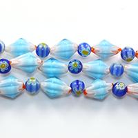 Murano Millefiori Lampwork Perle, handgemacht, 13x9mm, 6mm, Bohrung:ca. 1mm, Länge:ca. 16 ZollInch, 10SträngeStrang/Menge, ca. 44PCs/Strang, verkauft von Menge