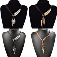 PU-Schnur-Halskette, Zinklegierung, mit PU Leder, mit Verlängerungskettchen von 2lnch, Federn, plattiert, 6-litzig & mit Strass, keine, frei von Nickel, Blei & Kadmium, verkauft per ca. 18.5 ZollInch Strang