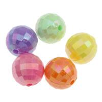 Plattierte Acrylperlen, Acryl, rund, bunte Farbe plattiert, verschiedene Größen vorhanden & facettierte & Volltonfarbe, gemischte Farben, Bohrung:ca. 1mm, verkauft von Tasche