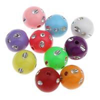 Silberdruck Acrylperlen, Acryl, rund, verschiedene Größen vorhanden & Volltonfarbe, gemischte Farben, Bohrung:ca. 1mm, verkauft von Tasche
