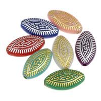 Gemischte Acrylperlen, Acryl, Pferdeauge, Silberdruck & Golddruck, 8x14x4mm, Bohrung:ca. 1mm, ca. 2100PCs/Tasche, verkauft von Tasche