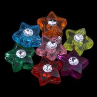Silberdruck Acrylperlen, Acryl, Stern, transparent, gemischte Farben, 9x4mm, Bohrung:ca. 1mm, ca. 3050PCs/Tasche, verkauft von Tasche
