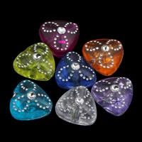 Silberdruck Acrylperlen, Acryl, Herz, transparent, gemischte Farben, 9x5mm, Bohrung:ca. 1mm, ca. 2700PCs/Tasche, verkauft von Tasche
