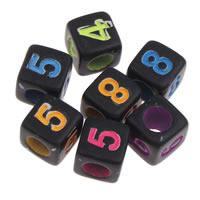 Anzahl Acrylkorn, Acryl, mit einem Muster von Nummer & gemischt & Volltonfarbe, schwarz, 6x6mm, Bohrung:ca. 3mm, ca. 2750PCs/Tasche, verkauft von Tasche