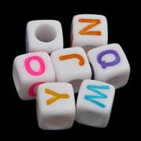 Alphabet Acryl Perlen, mit Brief Muster & gemischt & Volltonfarbe, weiß, 6x6mm, Bohrung:ca. 3mm, ca. 3000PCs/Tasche, verkauft von Tasche