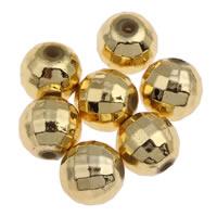 Plattierte Acrylperlen, Acryl, rund, goldfarben plattiert, facettierte, 8mm, Bohrung:ca. 1mm, ca. 1900PCs/Tasche, verkauft von Tasche