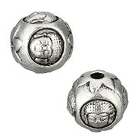 Buddhistische Perlen, Zinklegierung, Trommel, antik silberfarben plattiert, buddhistischer Schmuck, frei von Nickel, Blei & Kadmium, 10x9.50mm, Bohrung:ca. 2mm, 100PCs/Menge, verkauft von Menge