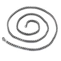 Titanstahl Halskette, unterschiedliche Länge der Wahl & Kastenkette & für den Menschen & Schwärzen, 4mm, verkauft von Strang