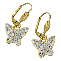Edelstahl-Hebel zurück-Ohrring, Edelstahl, mit Ton, Schmetterling, goldfarben plattiert, 4x19x10mm, 14x13x2.5mm, 12/Paar, verkauft von Paar