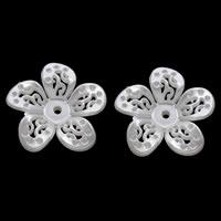 ABS-Kunststoff-Perlen Perlen Kappe Einstellung, Blume, weiß, 35x7mm, Bohrung:ca. 2mm, Innendurchmesser:ca. 1mm, ca. 300PCs/Tasche, verkauft von Tasche
