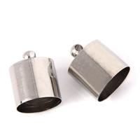 Messing Endkappe, Zylinder, Platinfarbe platiniert, verschiedene Größen vorhanden, frei von Blei & Kadmium, 1000PCs/Tasche, verkauft von Tasche