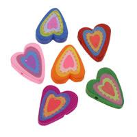 Holzperlen, Holz, Herz, Drucken, gemischte Farben, 21x24x5mm, Bohrung:ca. 1mm, 500PCs/Tasche, verkauft von Tasche
