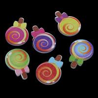 Holz Cabochon, Bonbons, Drucken & flache Rückseite, gemischte Farben, 23x24x3mm, 500PCs/Tasche, verkauft von Tasche