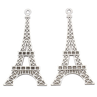 Zinklegierung Gebäude Anhänger, Eiffelturm, antik silberfarben plattiert, frei von Blei & Kadmium, 36x71x4mm, Bohrung:ca. 2mm, 10PCs/Tasche, verkauft von Tasche
