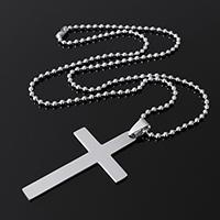 Edelstahl Schmuck Halskette, Kreuz, Kugelkette, originale Farbe, 30x52x1mm, 2.5x2.5x2.5mm, verkauft per ca. 19.9 ZollInch Strang